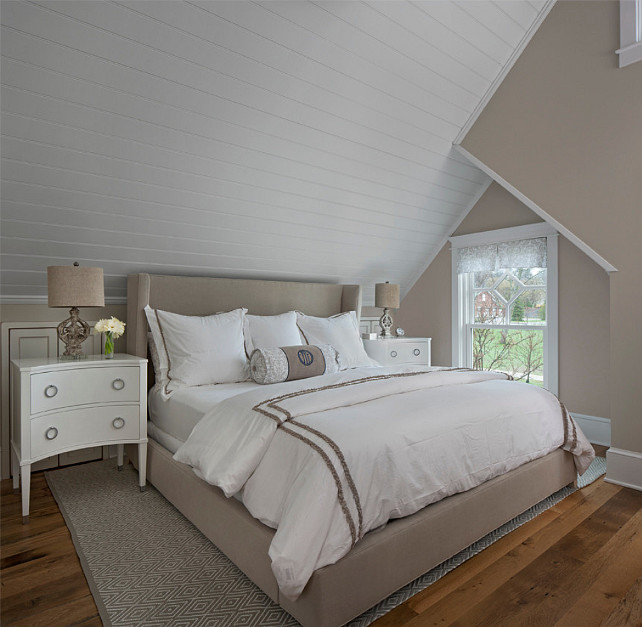 "Gray Bedroom Paint Color. The wall paint color in this bedroom is ""Benjamin Moore Baby Fawn"". #GrayBedroom #GrayBedroomPaintColor #GrayBenjaminMoorePaintColor #BenjaminMoorebabyFawn Designed by Cottage Company Interiors."