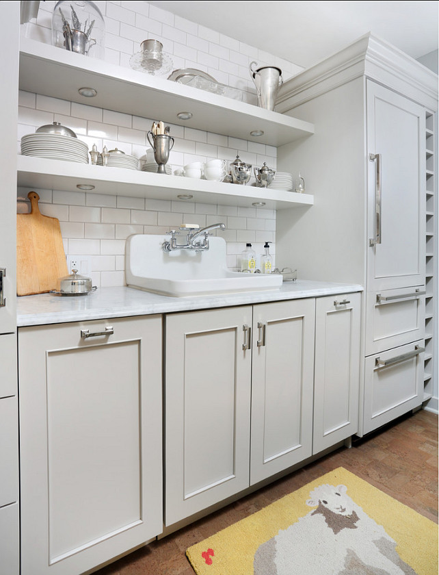Gray Kitchen Ideas. Small Gray Kitchen with open shelves and white subway tile backsplash. #Kitchen #GrayKitchen #GrayCabinet #KitchenPaintColor Normandy Remodeling.