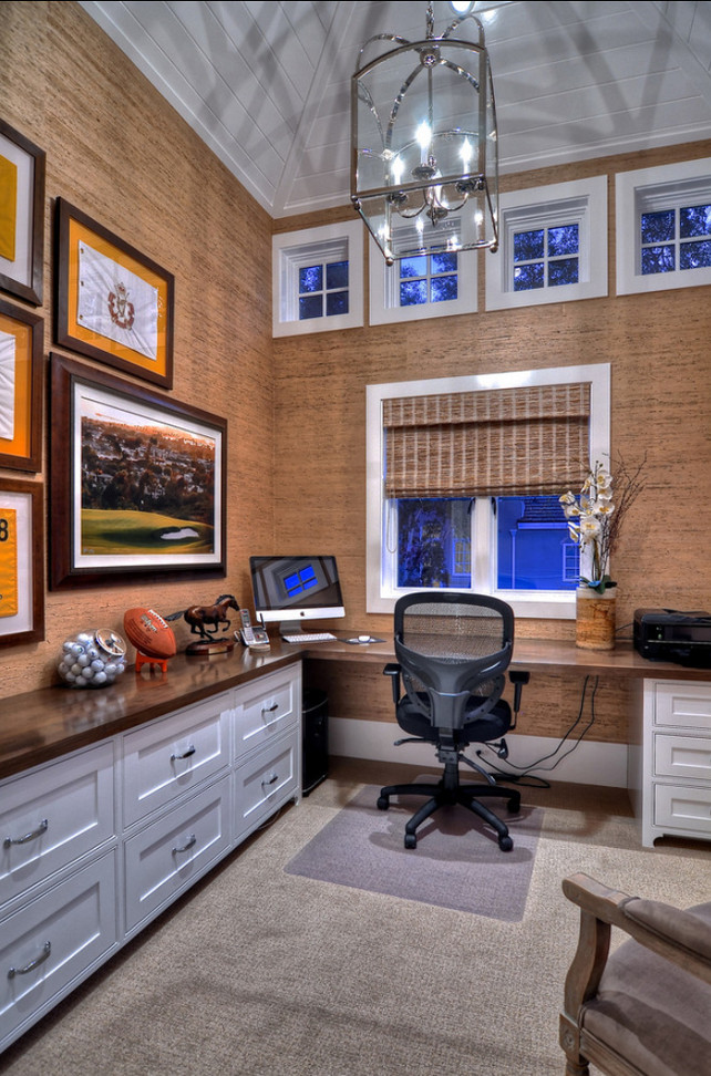 "Home Office Ideas. Wall Covering in this home office is grasscloth. Pendant Lighting is the""Arch Top Lantern, designed by designer E.F. Chapman"" from Circa Lighting. #Wallpaper #HomeOffice #Grasscloth"