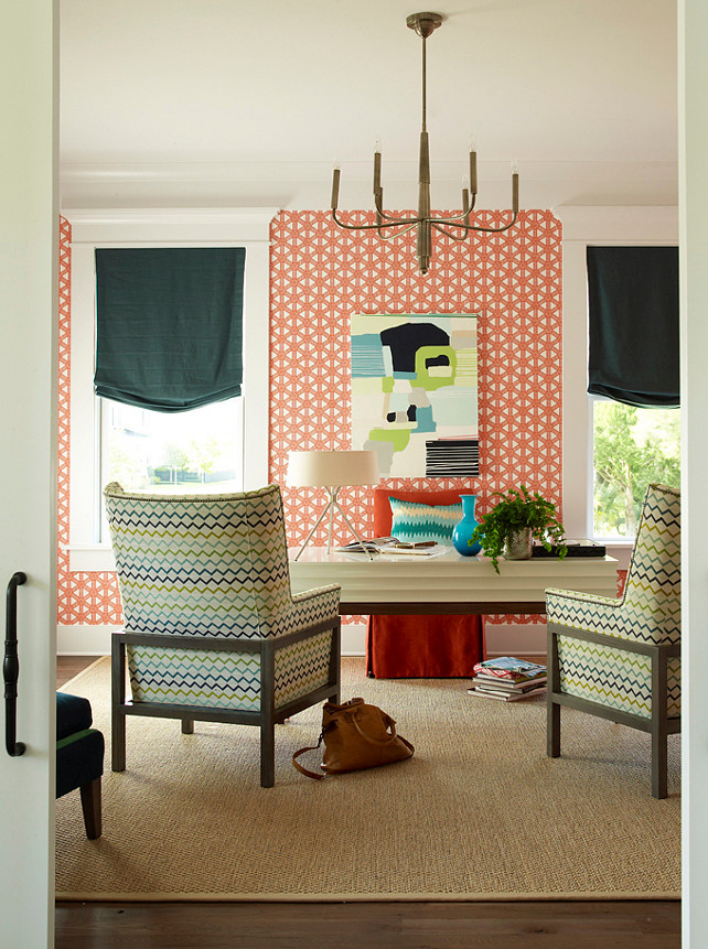 Home Office. Feminine and fun home office. #HomeOffice