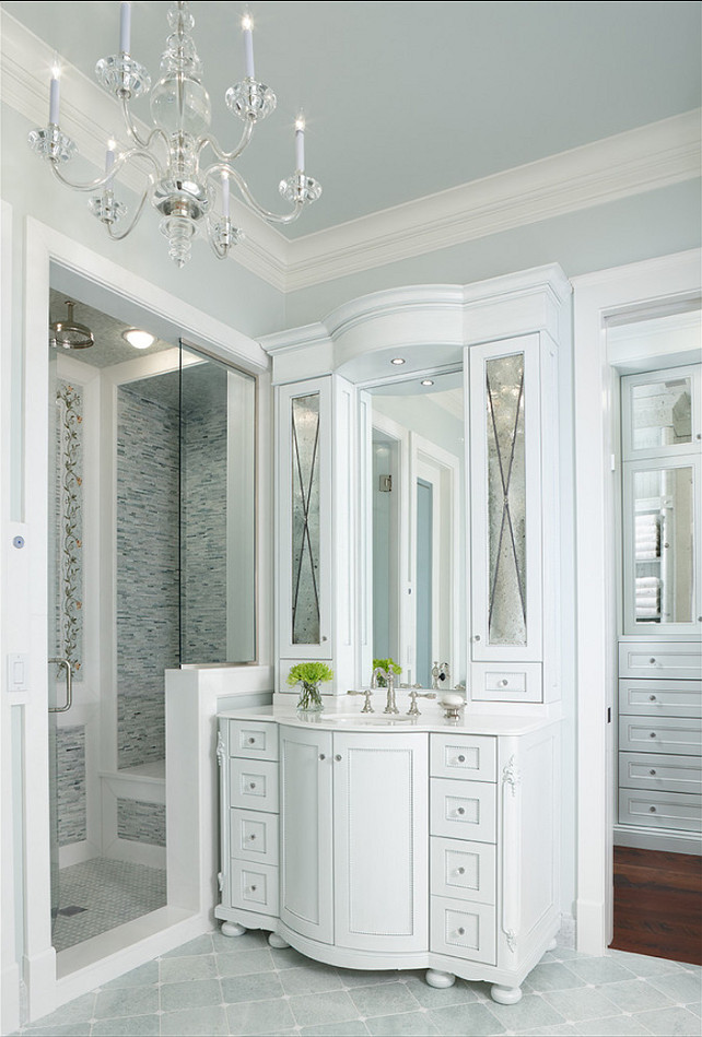 Bathroom. Classic Bathroom design. The light fixture is from 'Visual Comfort'. #Bathroom #BathroomDesignIdeas