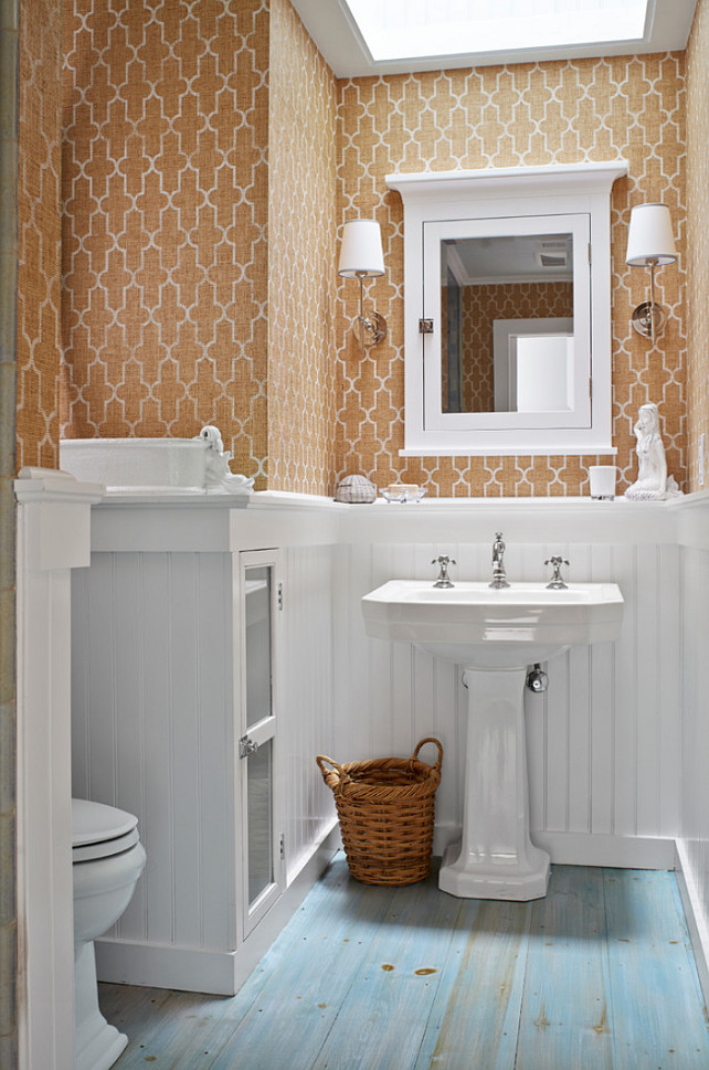 Bathroom with Grasscloth wallpaper. #GrassclothWallpaper