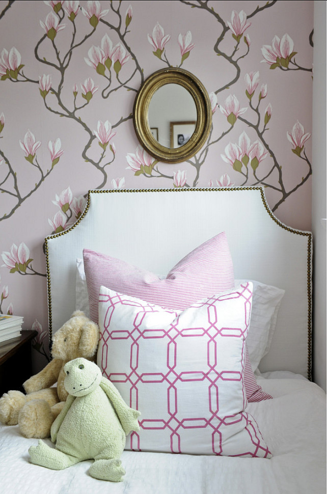 Kids Bedroom Decor. Kids Bedroom with classy decor. Girls Bedroom with floral wallpaper and custom pillows. #Bedroom #KidsBedroom #GirlsBedroomDecor Kerrisdale Design Inc.