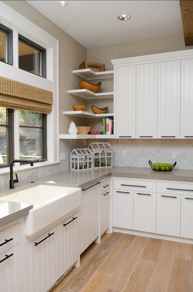 Kitchen Cabinet Ideas. The cabinets in this kitchen are maple cabinets painted in off-white. #