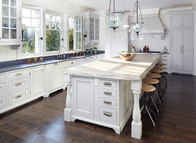 Kitchen Countertop Ideas. Kitchen countertop ideas. The perimeter countertops are oiled soapstone and the island countertop is reclaimed cypress.. #Countertop. #KItchenCountertop The Anderson Studio of Architecture & Design