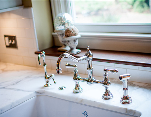 Kitchen Faucet. Kitchen Faucet Ideas. This kitchen faucet is a Perrin & Rowe bridge faucet with sidespray by Rohl. #Kitchen #KitchenFaucet #RohlKitchenFaucet