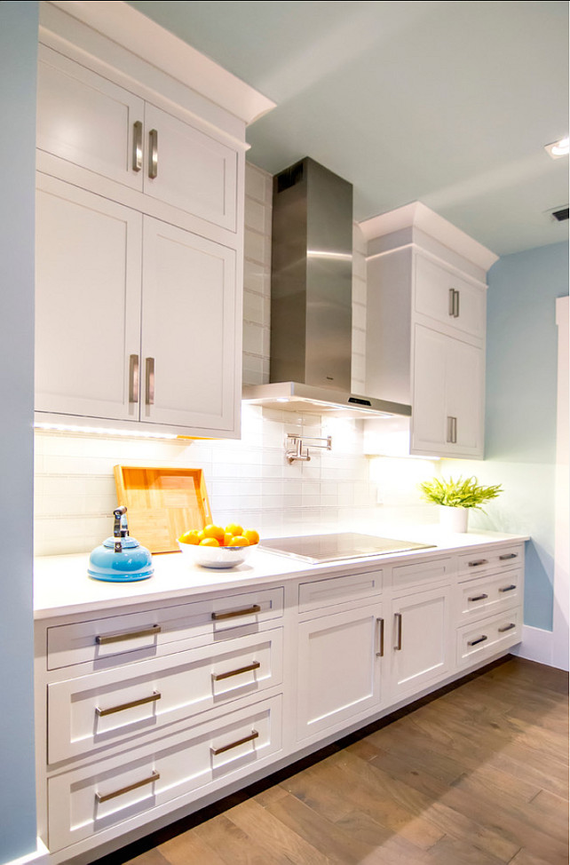 Kitchen Ideas. Kitchen Design Ideas. Kitchen Cabinet Paint Color is Sherwin Williams Pure White SW 7005. #Kitchen #KitchenCabinets