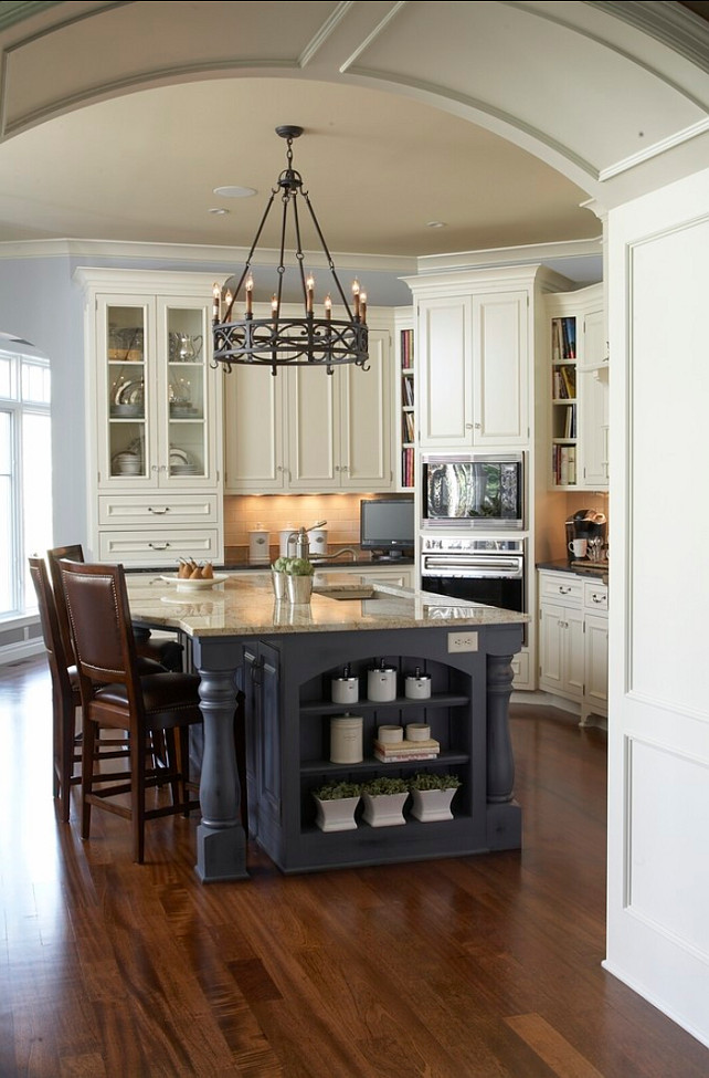 Kitchen Island Paint Color. Benjamin Moore Brewster Gray #BenjaminMoore #BrewsterGray