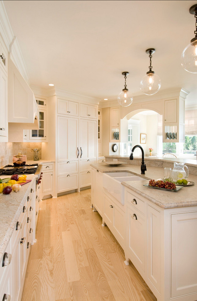 Kitchen Island Pendant. The pendant lighting above the island is Calhoun Glass Pendant from Pottery Barn. Kitchen Island Pendant Ideas. #KitchenIslandPendant OLSON LEWIS + Architects.