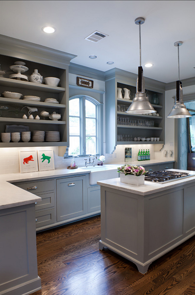 Kitchen Paint Color. Gray Kitchen Cabinet Paint Color. Benjamin Moore Fieldstone. #BenjaminMooreFieldstone