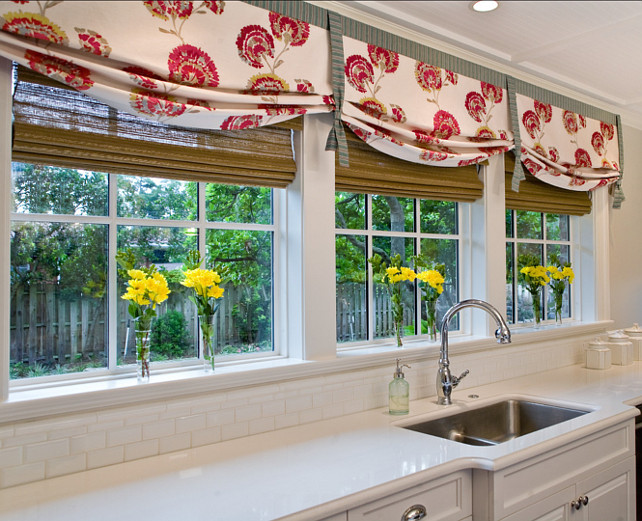 Kitchen Window Treatment. Kitchen Shades. Studio M Interior Design, Inc.