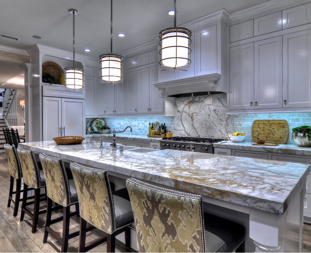 Kitchen. KItchen with marble countertop. The countertop in this kitchen is is a marble slab material called Calacatta Vechia. The backsplash is a 3x6 porcelain subway tile in a greyish finish. #Kitchen #KitchneMarbleCountertop.