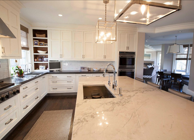 Kitchen. White Kitchen with Marble Island Countertop. #KitchenDesign #MarbleCountertopKitchen #KitchenMarbleCountertop #MarbleKitchenIsland. Designed by John Johnstone Kitchen & Bath Designers.