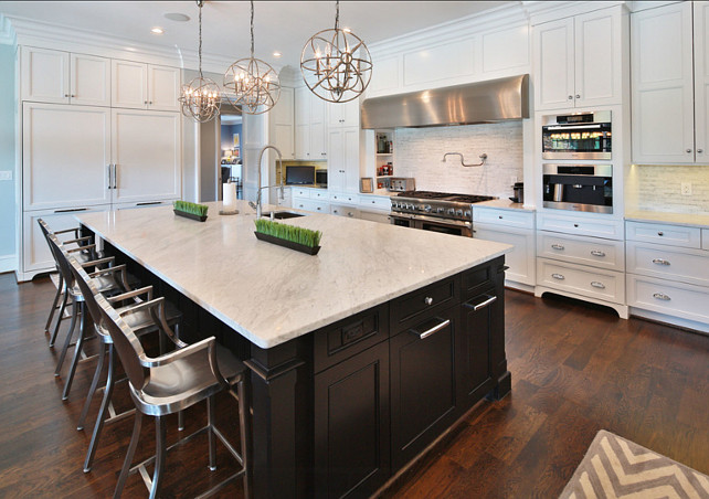 Kitchen. White Kitchen with dark stained island. #Kitchen #WhiteKitchen #DarkStainedKitchenIsland Rufty Custom Built Homes and Remodeling