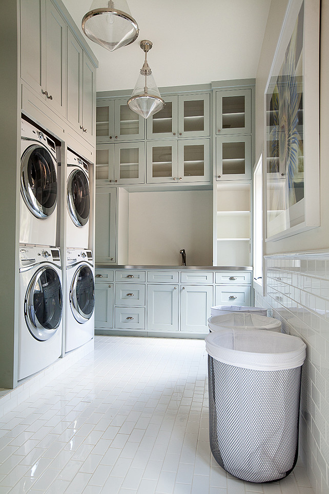 Laundry Room. Laundry Room Design. This is the ultimate in laundry room design! Great laundry room cabinet ideas and plenty of work storage. #LaundryRoom #LaundryRoomDesign #LaundryRoomDecor #LaundryRoomIdeas #LaundryRoomCabinet Tracy Hardenburg Designs.
