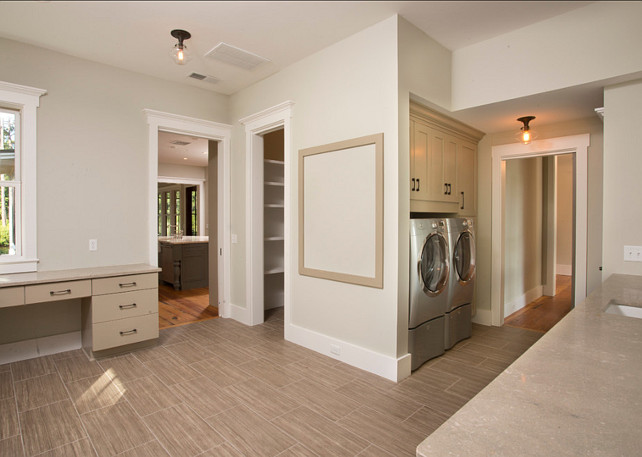 Laundry Room. Laundry Room and Mudroom ideas. #LaundryRoom Designed by Shoreline Construction and Development.
