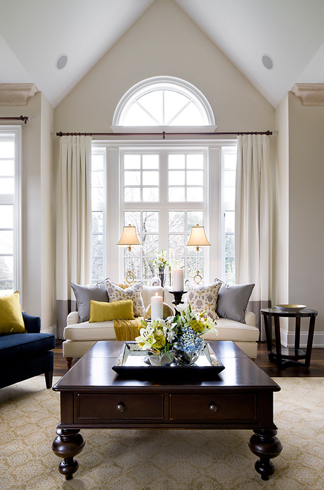 Living Room Design Ideas. Neutral Living Room Palette with comfortable, tailored furniture. #LiivngRoom #InteriorsColorPalette #LivingRoom Designed by Jane Lockhart.