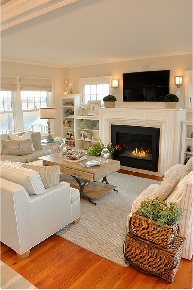Cool Sunken Living Room Ideas For Your Dreamed House: Dream Beach Cottage With Neutral Coastal Decor