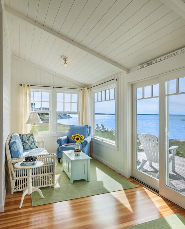 Living Room Ideas. Small Living Room Design Ideas. This cottage's living room is on the small side, but it still feels charminh with its coastal decor. #LivingRoom #LivingRoomIdeas #SmallSpaces #CottageInteriors