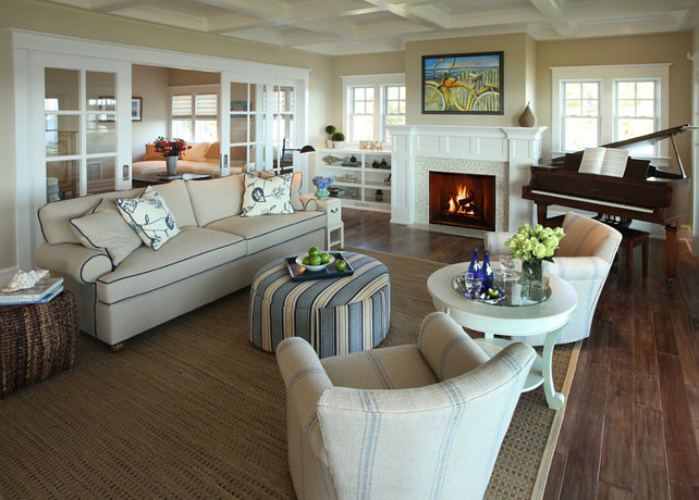 Living Room. Living Room with coastal decor and subtle furniture. Great furniture layout! Casual Living Room. #LivingRoom #LivingRoomDesign #LivingRoomIdeas #LivingRoomLayout Asher Associates Architects