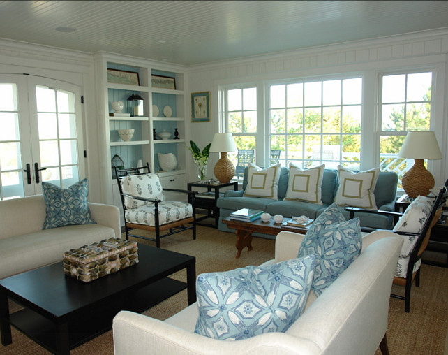 Living Room. Living room with coastal decor. Great living room furniture layout! Peter Zimmerman Architects.