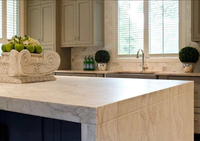 Marble Countertop. Kitchen Island with white Marble Countertop. The fabulous waterfall edge island stone is Calacatta Gold marble which has been honed to a soft finish. Calcutta marble, marble countertop, waterfall edge. #MarbleCountertop #WhiteMarble #Marble