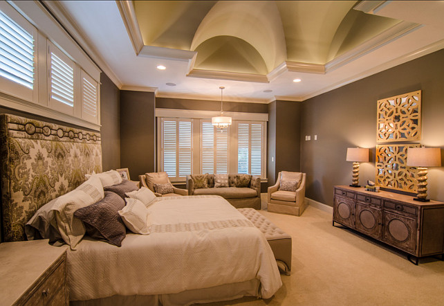 Master Bedroom. Master bedroom with sitting area and soothing paint color. #MasterBedroom