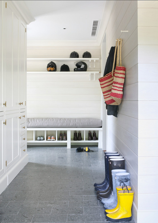 Mudroom. Mudroom Design Ideas. Mudroom with custom cabinets, durable floors and horizontal tongue and groove walls. #Mudroom