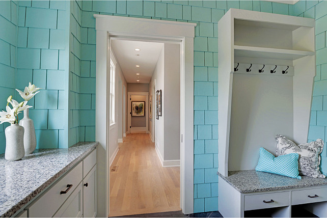 Mudroom. Mudroom Design. Mudroom with turquoise wall color and custom cubbies. #Mudroom Carl M. Hansen Companies.