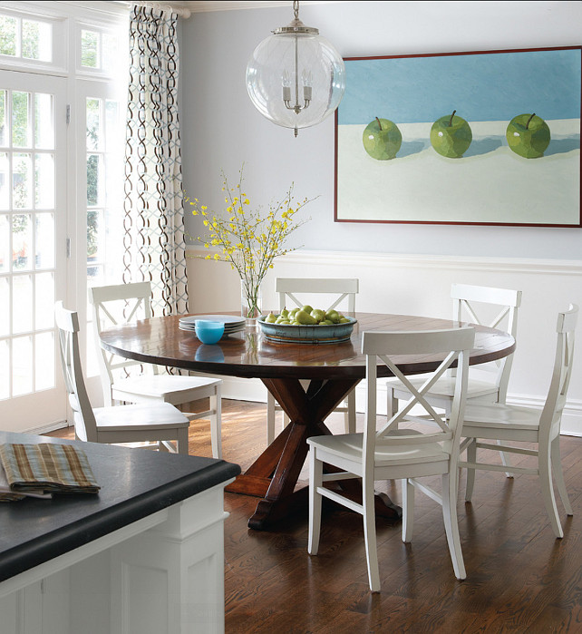 "Dining Area. Dining Area Ideas. The table in this dining area is the Ethan Allen Gilcrest table. Pendant is the ""Sorenson Pendant from Remains"". #DiningArea #DiningAreaIdeas #FurnitureIdeas"