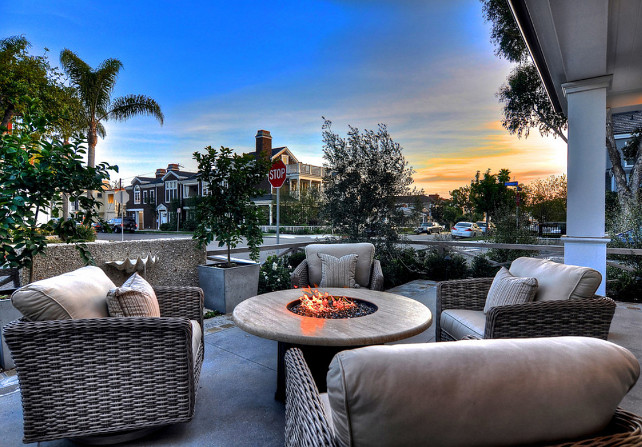 Patio Ideas. Patio with firepit and comfortable outdoor chairs. #Patio