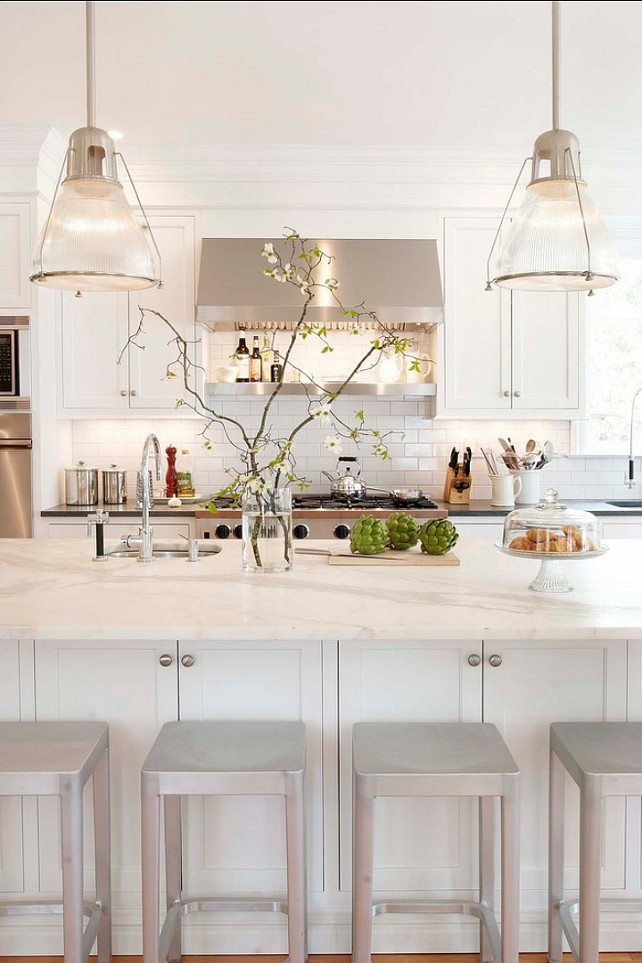 White Kitchen. Kitchen Cabinet Paint Color: Sherwin-Williams Pure White SW 7005 Classic White Kitchen Design. White Kitchen