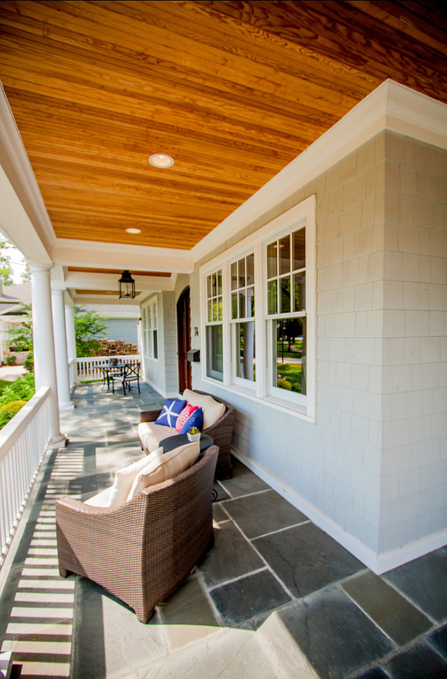 Porch. Porch Ideas. Front Porch Decorating Ideas. The flooring in this front porch is bluestone. #Porch #FrontPorch #PorchDecoratingIdeas #PorchDesign #Bluestone