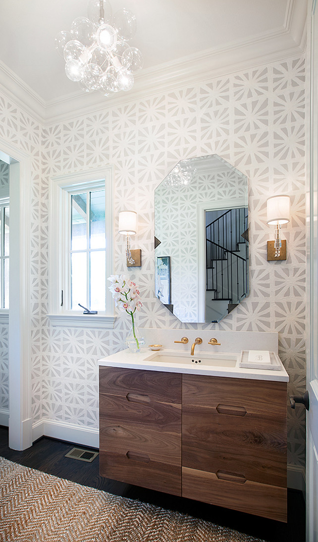 Powder Room Ideas. Transitional powder room with geometric wallpaper and Glass Bubble Chandelier. #PowderRoom #TransitionalPowderRoom #TransitionalInteriors Tracy Hardenburg Designs.