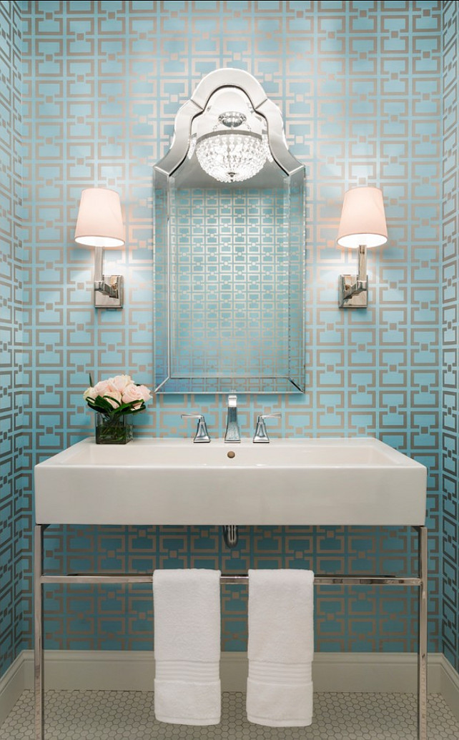 Powder Room. Modern Powder Room with Geometric Wallpaper. #PowderRoom #ContemporaryBathroom #WallpaperIdeas #GeometricWallpaper Designed by Martha O'Hara Interiors.