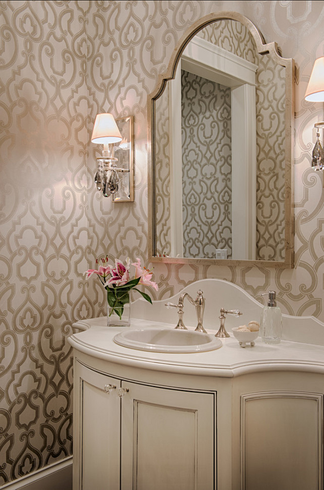 Powder Room. Powder Room Design. Elegant Powder Room Ideas. Powder Room with wallpaper, sconces and custom vanity. #PowderRoom #PowderRoomWallpaper #PowderRoomDesign