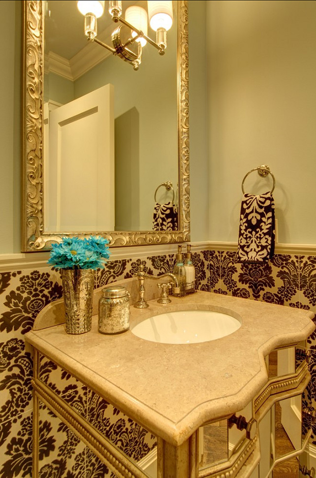 Powder Room. Powder Room Design. Powder Room with Damask Tiles. #PowderRoom #Damask