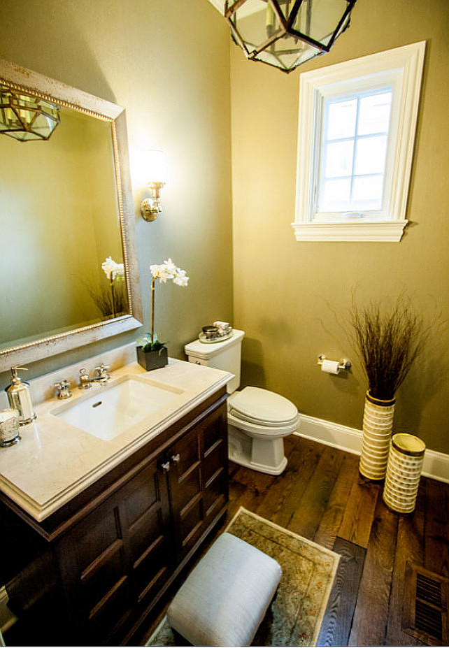 Powder Room. Powder Room Design. Powder room with custom cabinetry, sconces and dark stained hardwood floors. #PowderRoom #PowderRoomDesign #PowderRoomIdeas