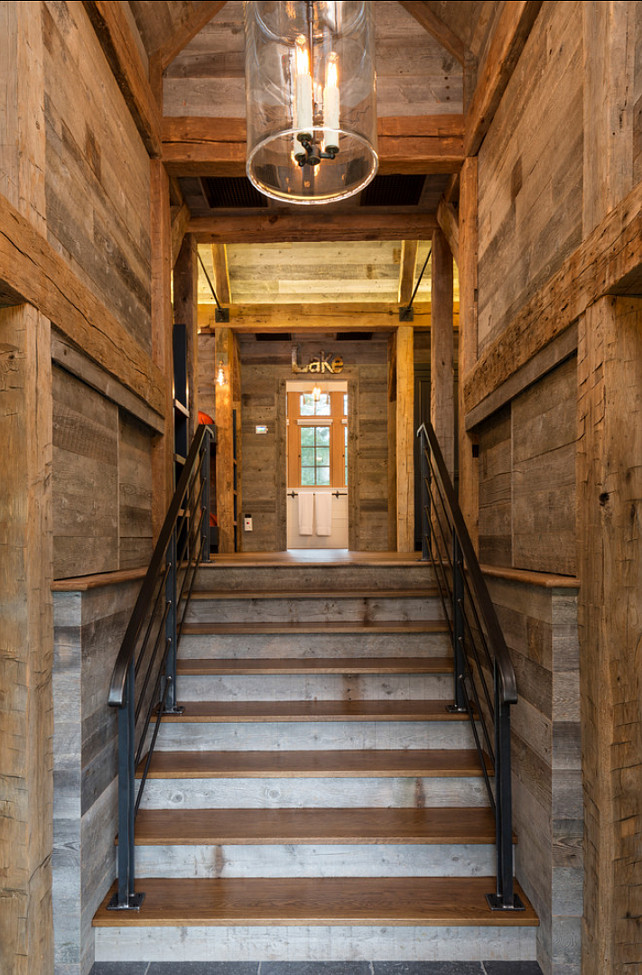Rustic Entryway. Rustic entryway with reclaimed wood floors and panelling. Rustic Interiors.