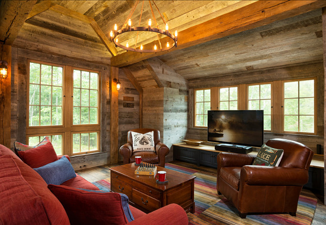 Rustic Family Room. Family Room with rustic decor and reclaimed floors. #RusticInterior #FamilyRoom #ReclaimedFloors #RusticDecor
