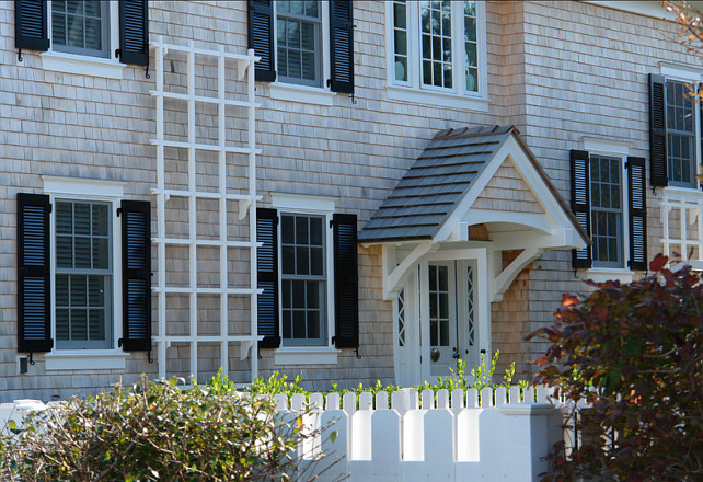 Shingle Homes. Architectural details of a shingle home with shutters. Peter Zimmerman Architects.