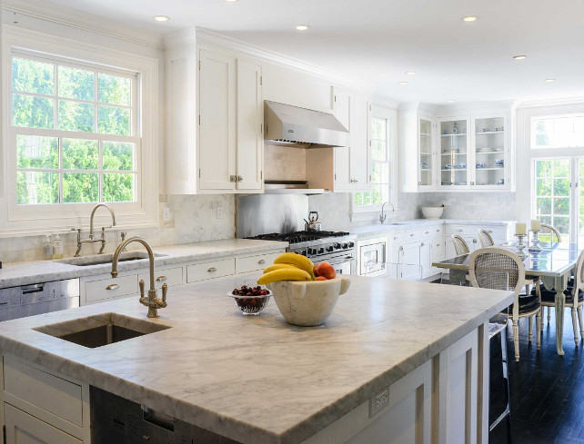 White Kitchen with honed white marble countertop. #kitchen #WhiteKitchen #Marble