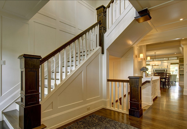 Stairwell Ideas. Stairwell Design. Beautiful entryway with stairwell and classic millwork. #Stairwell #Entryway #Foyer