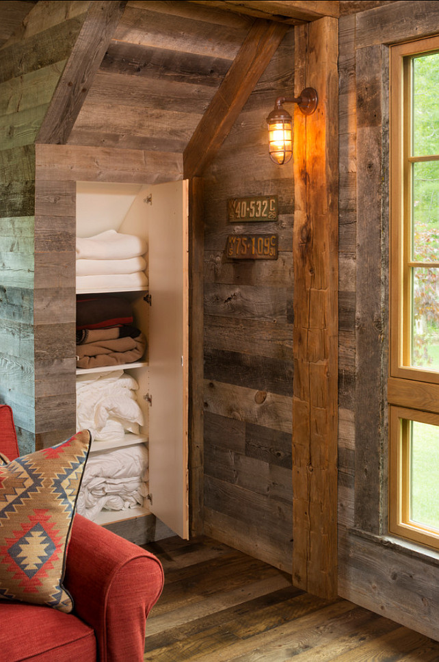 Storage Ideas. This rustic guest house has many creative storage ideas. #StorageIdeas
