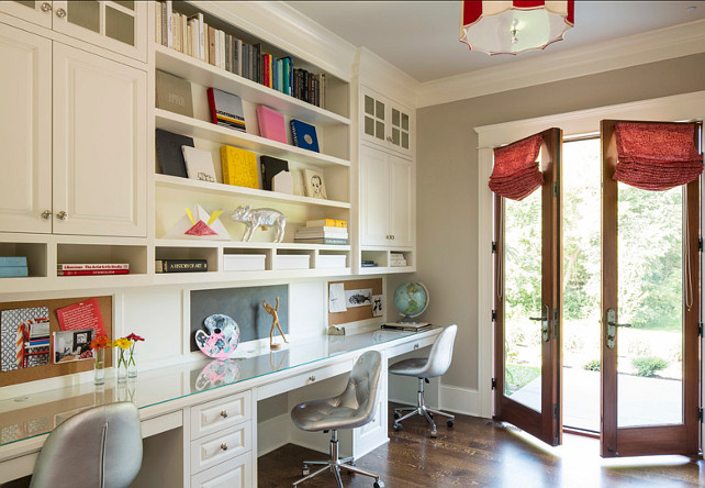 Study. Kids Study Design. Cabinets are painted in Benjamin Moore White Dove OC17 #Study #HomeOffice #BenjaminMooreOC17