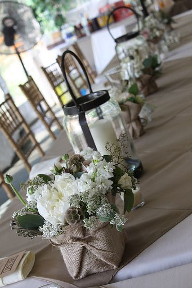 Table Decor Ideas. Wedding Table Decor Ideas. Shabby Chic Table Decor Ideas. Via The Full Bouquet.