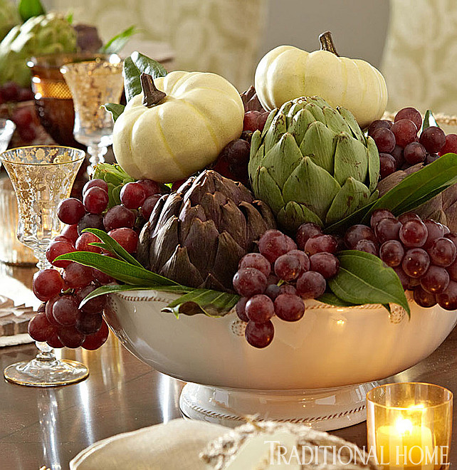 Thanksgiving Decor Ideas. Table Top Decor Ideas. Thanksgiving Table Top Decor Ideas. Easy Table Top Decor Ideas for Thanksgiving. Via Traditional Home.
