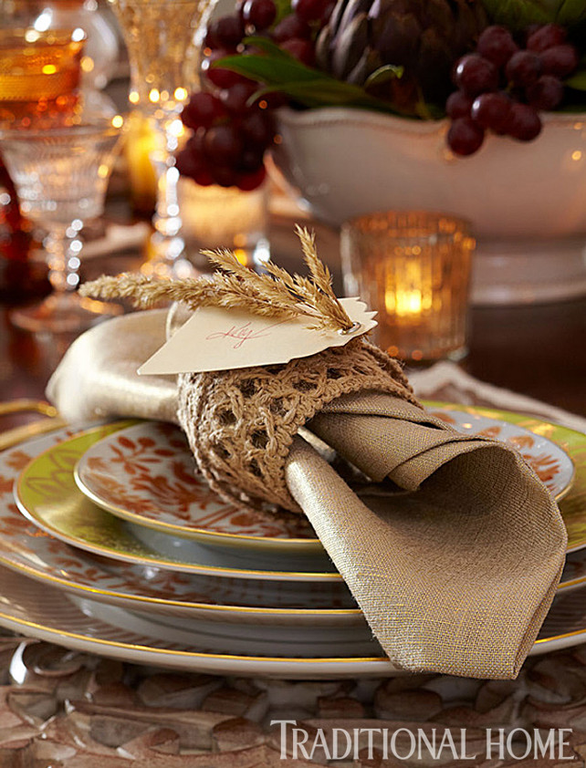 Thanksgiving Dinner Decor Ideas. Via Traditional Home.
