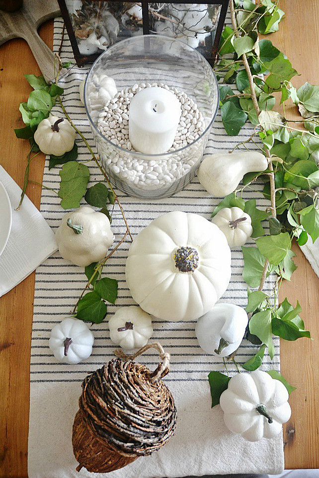 Thanksgiving Pumpking Decor. White Pumpkin Decor Ideas. DIY Painted Pumpkins. #Thanksgiving. Via Liz Marie Blog.