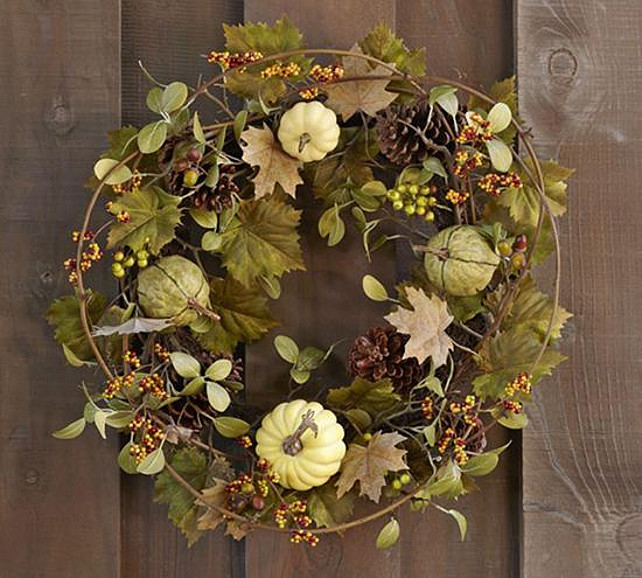 Thanksgiving Wreath Ideas. Faux green harvest pumpkin wreath, Pottery Barn, $137. #ThanksgivingWreath  Via Style at Home.